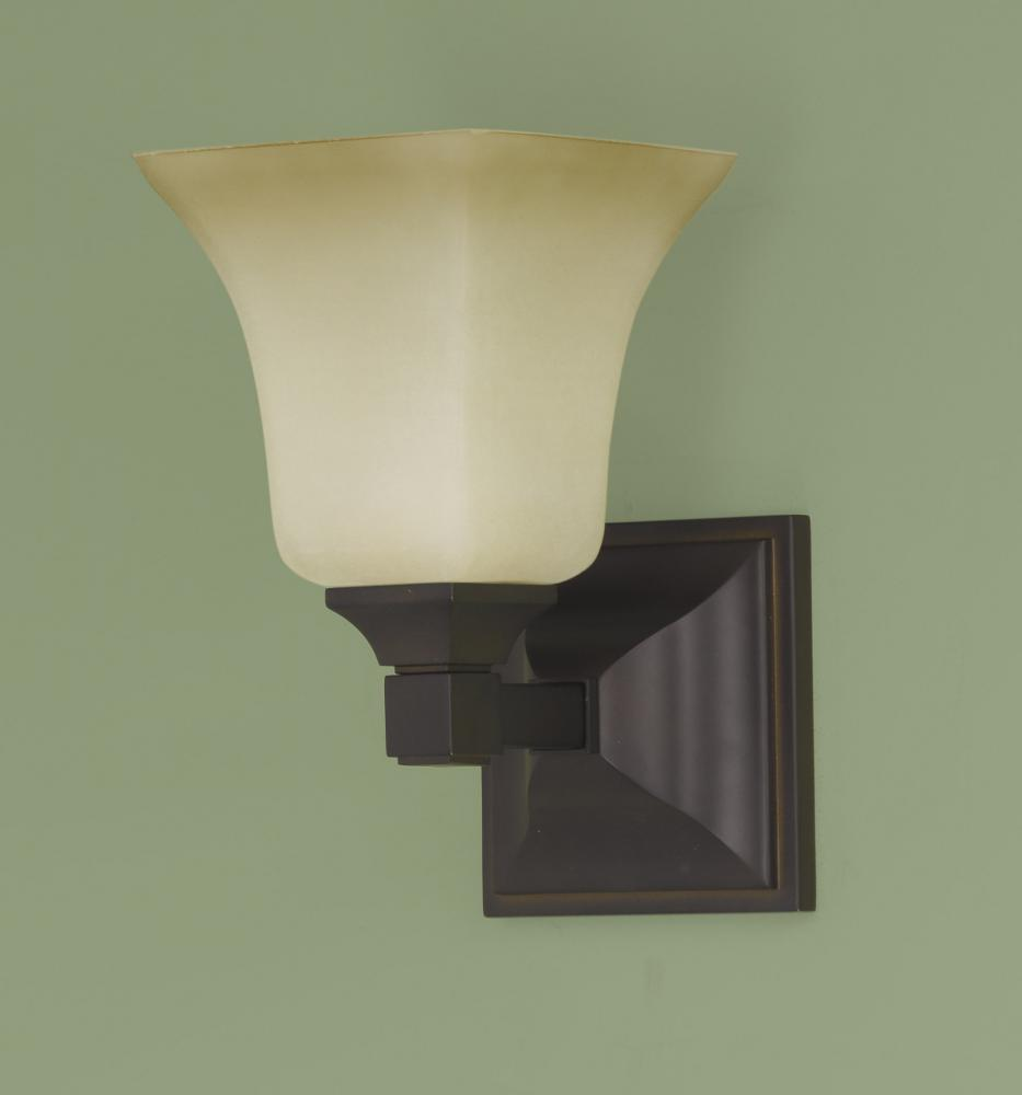One Light Oil Rubbed Bronze Excavation Glass Bathroom Sconce : 5C8C ...