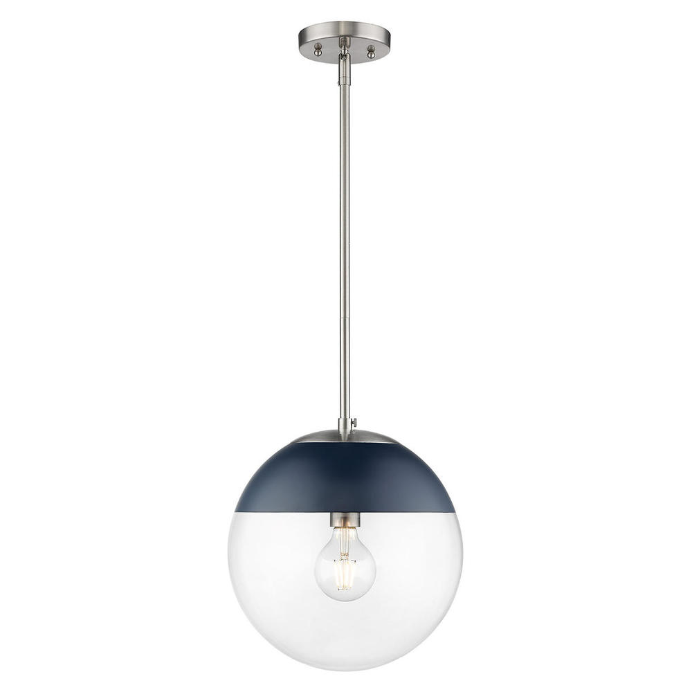 Dixon Pendant In Pewter With Clear Glass And Black Cap